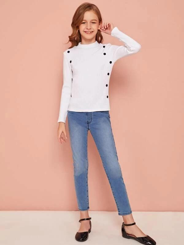 Girls Double Button Mock-Neck Rib-Knit Tee