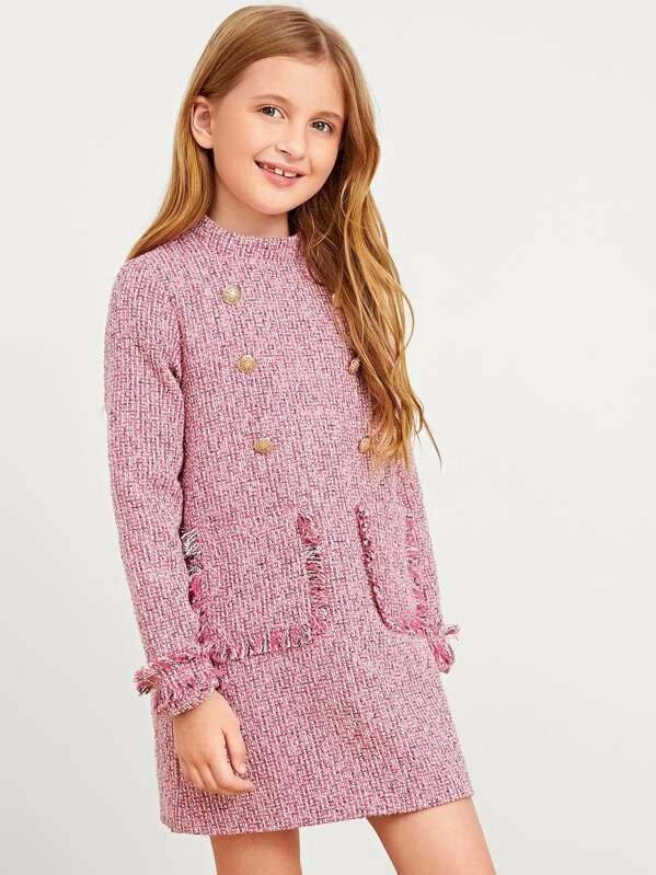 Girls Double Button Raw Hem Tweed Dress