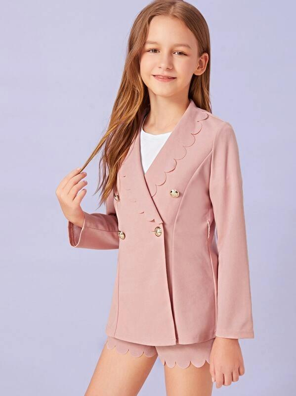 Girls Double Button Scalloped Coat & Shorts Set With Belt