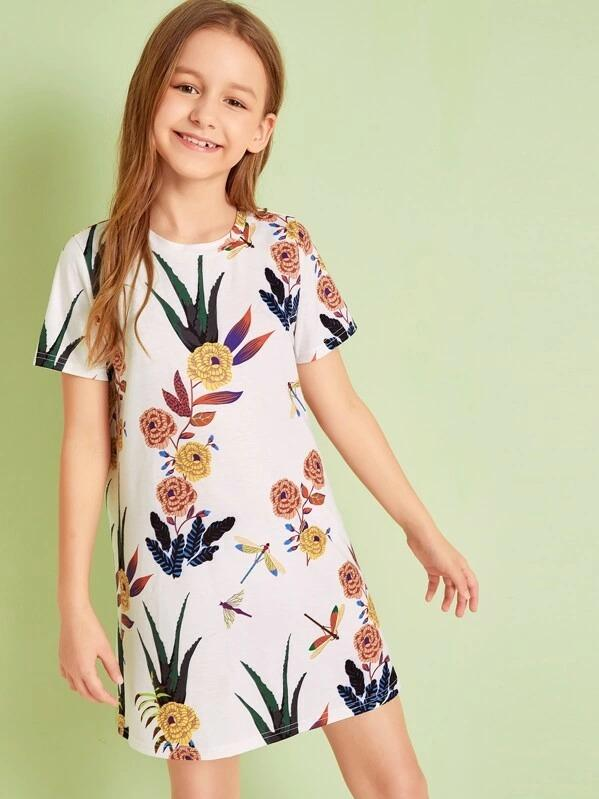 Girls Dragonfly And Botanical Print Dress