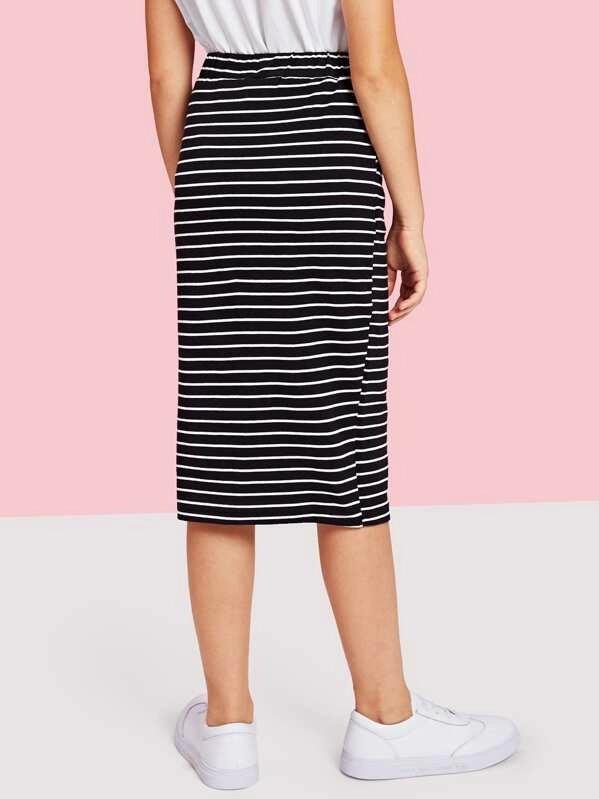 Girls Drawstring Waist Striped Skirt
