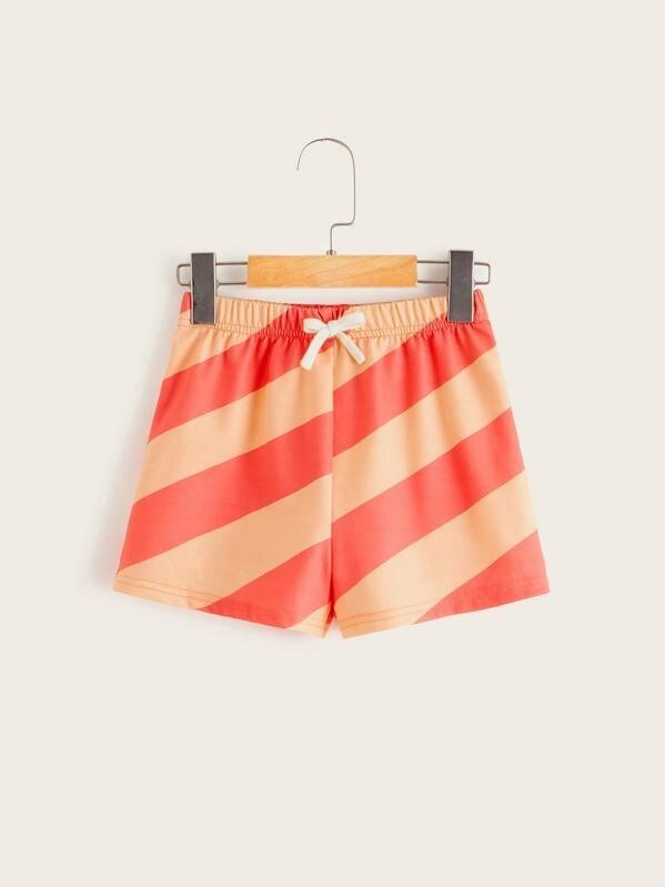Girls Drawstring Waist Two Tone Shorts