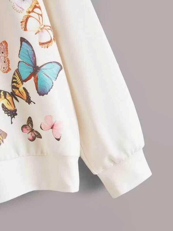 Girls Drop Shoulder Butterfly Print Pullover