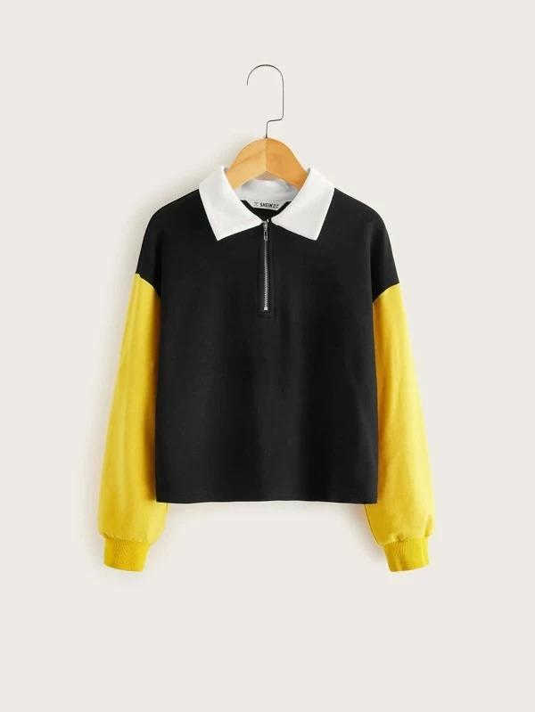 Girls Drop Shoulder Colorblock Half Zipper Pullover