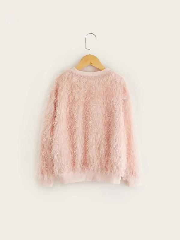 Girls Drop Shoulder Embroidery Front Fuzzy Pullover
