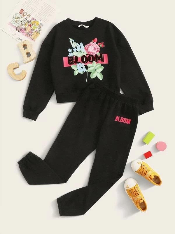 Girls Drop Shoulder Floral And Letter Graphic Pullover & Joggers Set