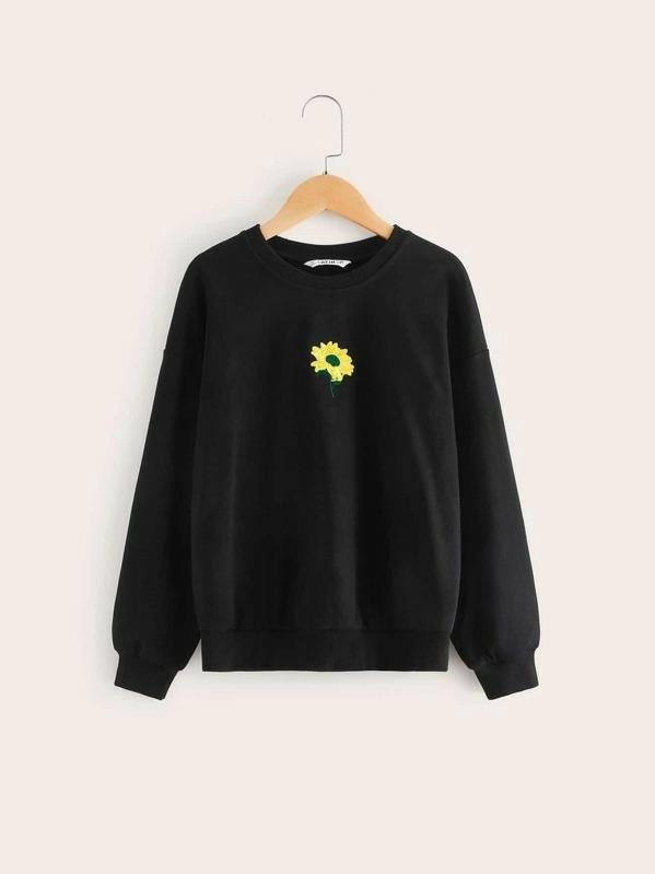 Girls Drop Shoulder Floral Embroidery Pullover