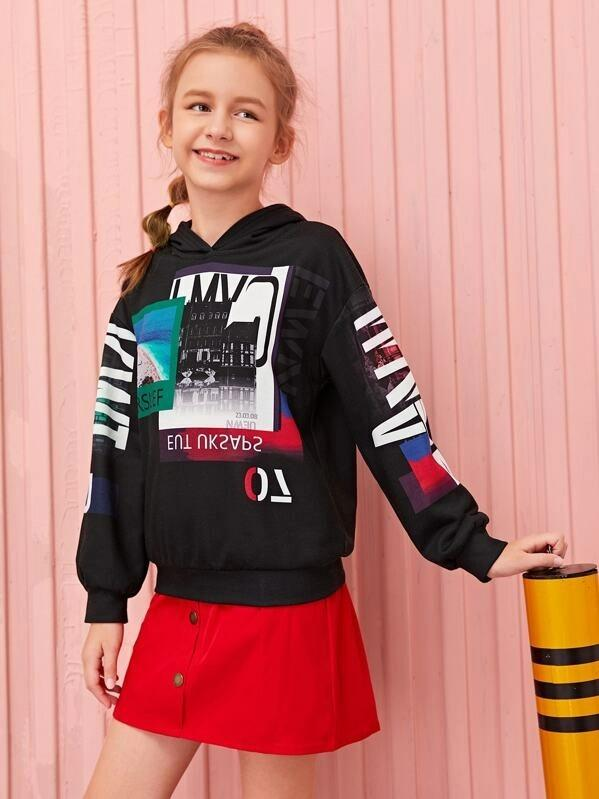Girls Drop Shoulder Graphic Print Hoodie