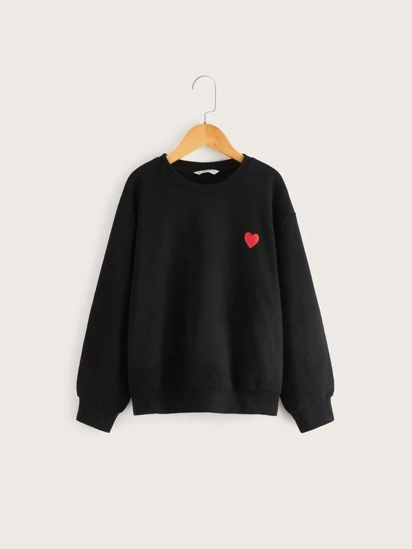 Girls Drop Shoulder Heart Print Pullover