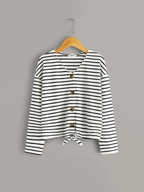 Girls Drop Shoulder Knot Hem Striped Top