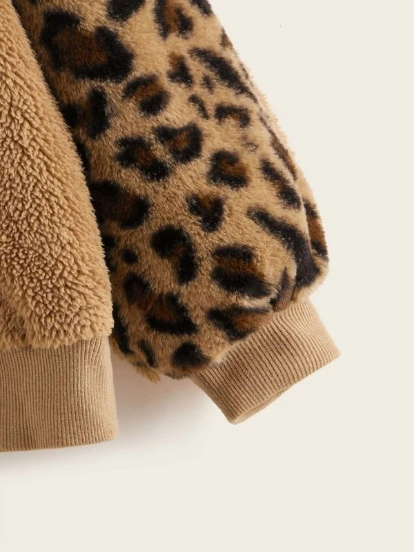 Girls Drop Shoulder Leopard Sleeve Teddy Pullover