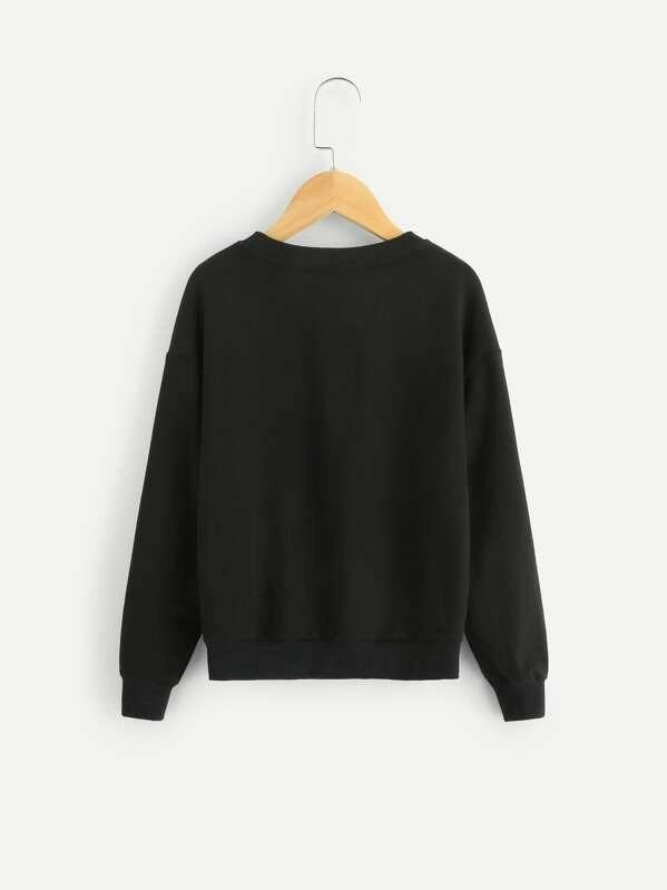 Girls Drop Shoulder Pearl Detail Sweatshirt