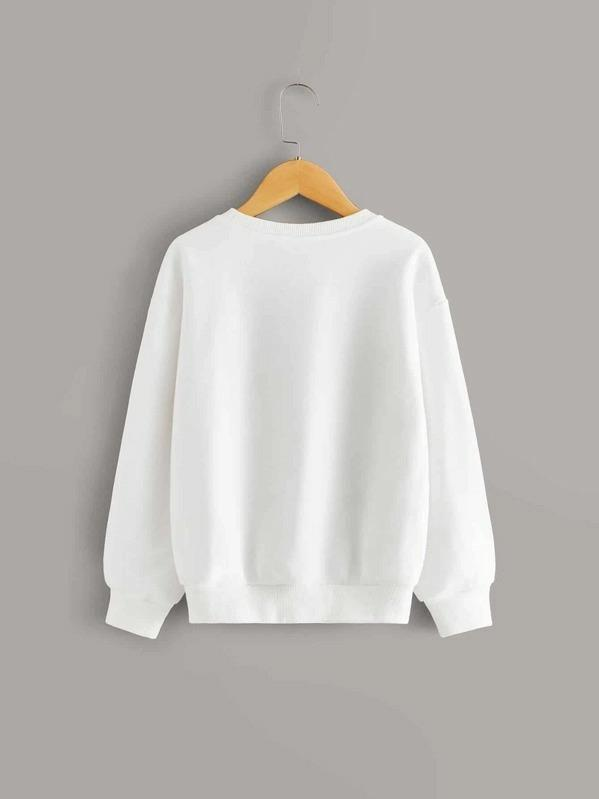 Girls Drop Shoulder Pompom Detail Pullover