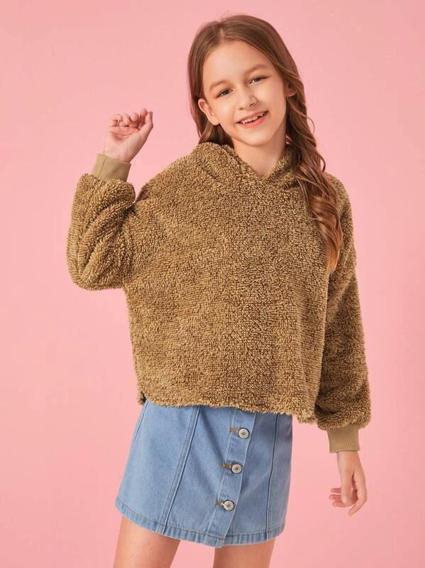 Girls Drop Shoulder Teddy Hoodie