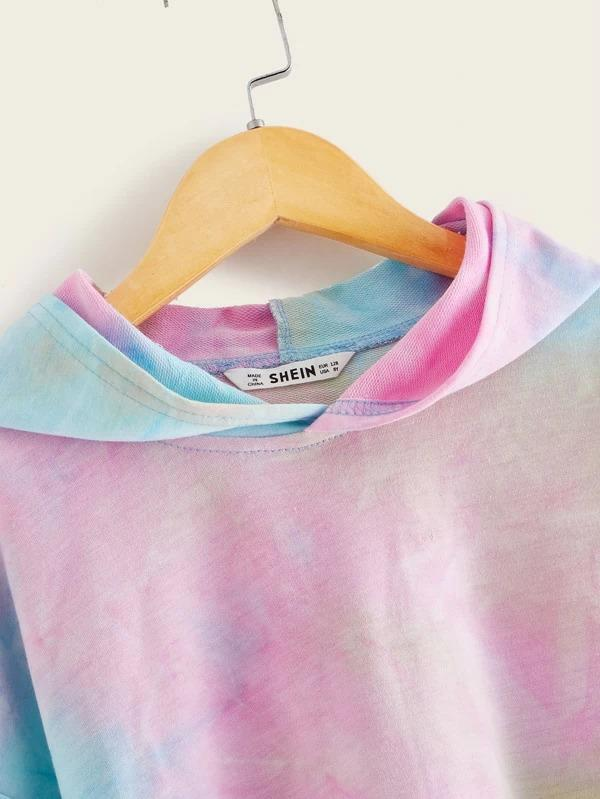 Girls Drop Shoulder Tie Dye Hoodie