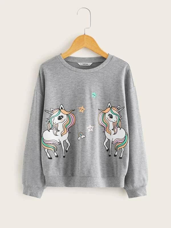 Girls Drop Shoulder Unicorn Print Pullover