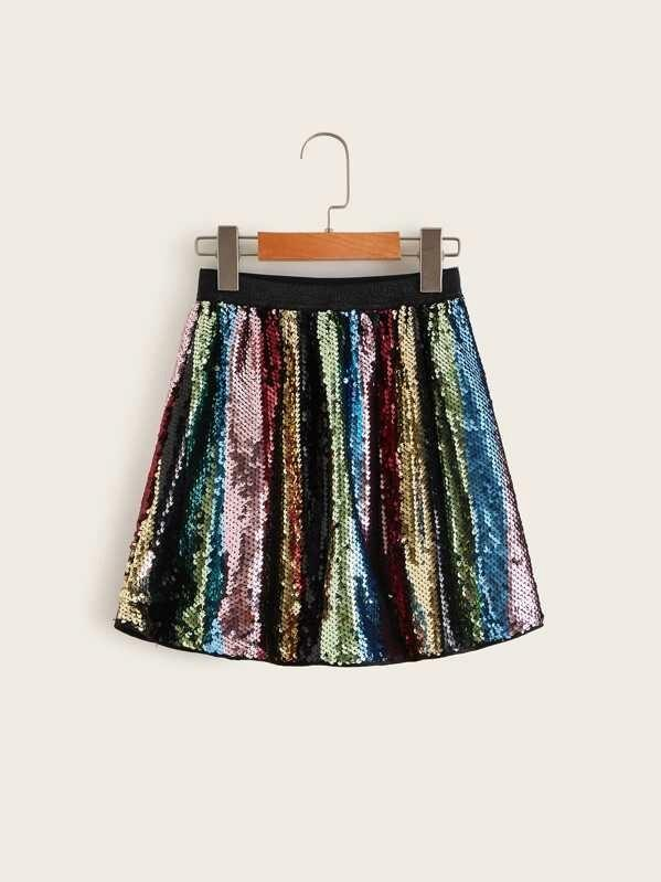 Girls Elastic Waist Colorblock Sequin Skirt