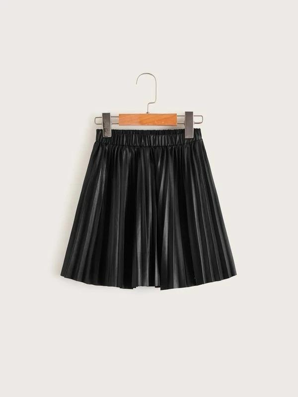 Girls Elastic Waist Pleated Coated Skirt