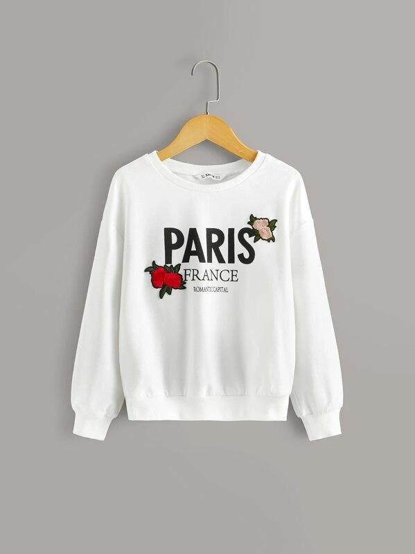 Girls Embroidered Applique Detail Letter Graphic Pullover