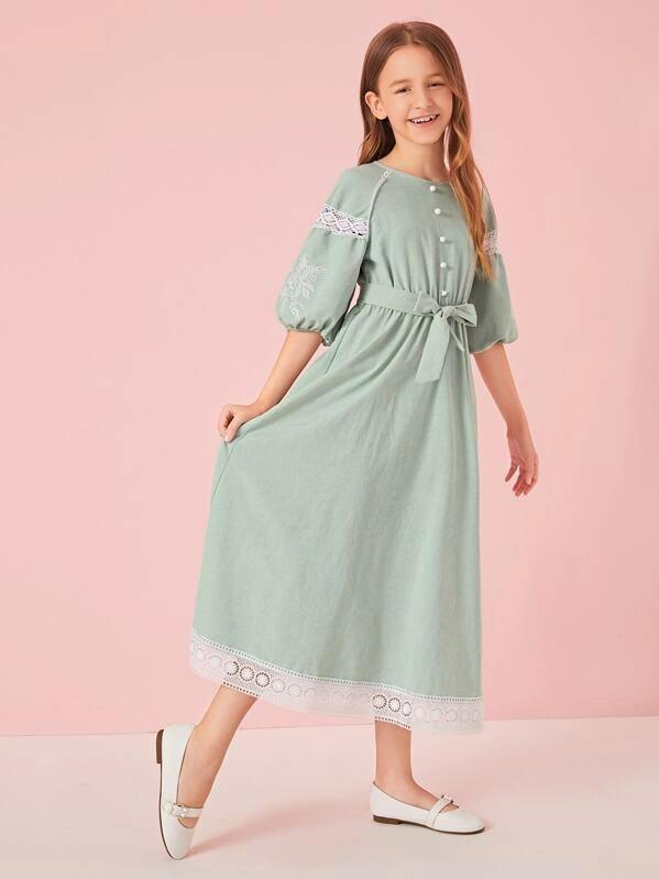 Girls Embroidered Botanical Sleeve Lace Trim Belted Dress
