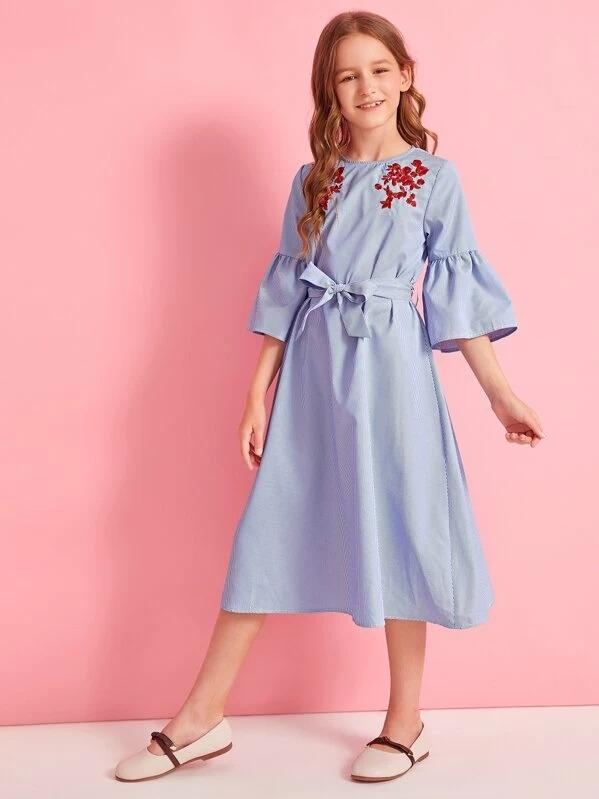 Girls Embroidered Detail Bell Sleeve Belted Dress