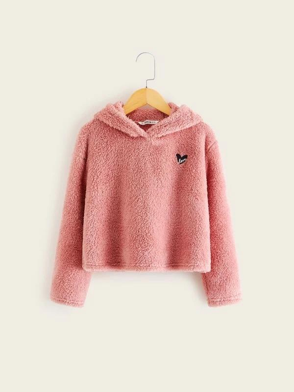 Girls Embroidered Detail Teddy Hoodie
