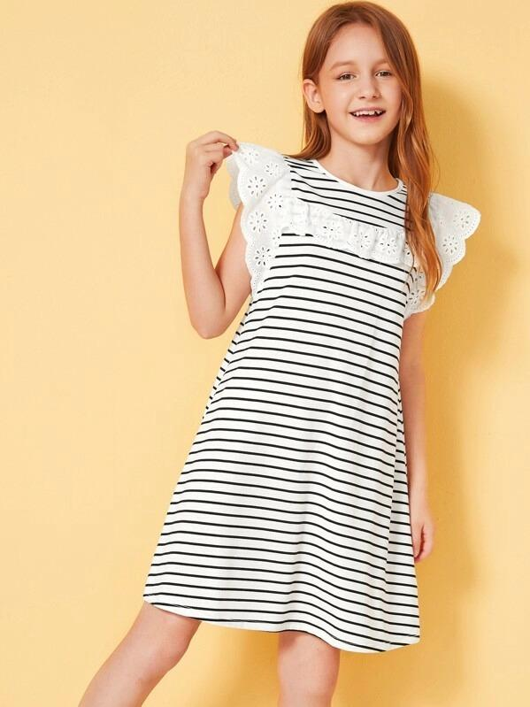 Girls Embroidered Eyelet Ruffle Trim Striped Dress