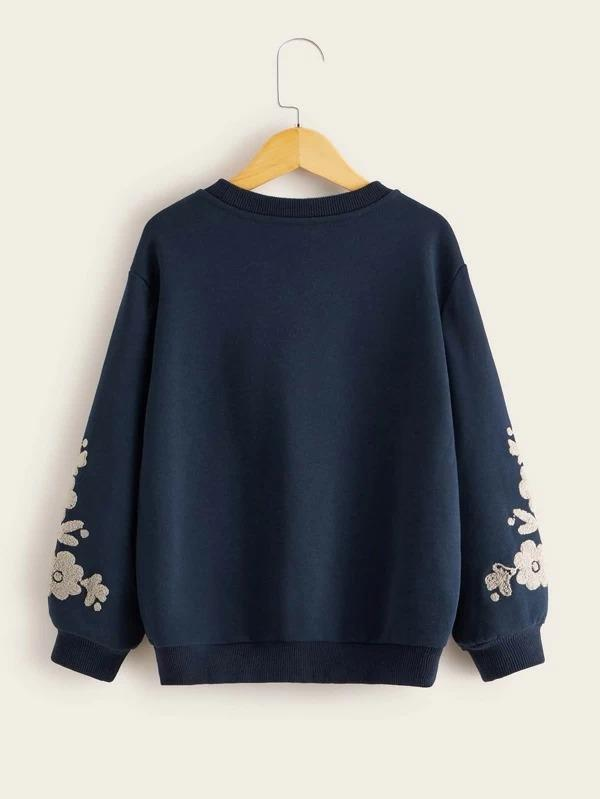 Girls Embroidered Floral Detail Pullover