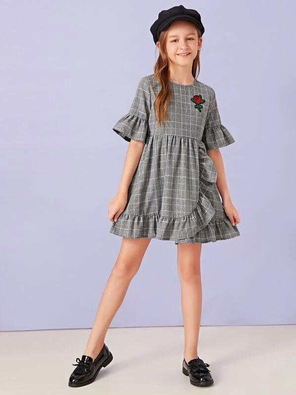 Girls Embroidered Ruffle Trim Plaid Dress