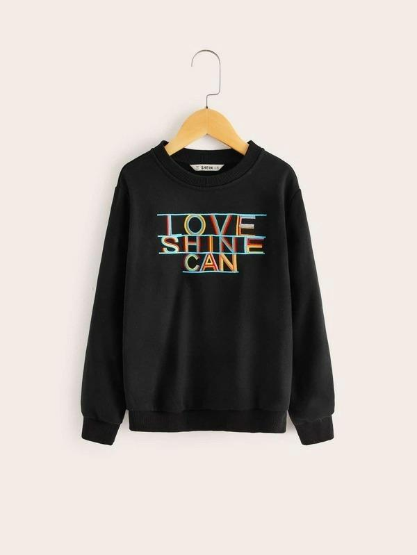 Girls Embroidered Slogan Pullover