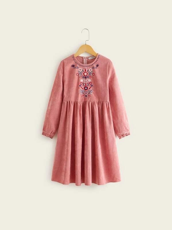 Girls Embroidery Detail Corduroy Flare Dress