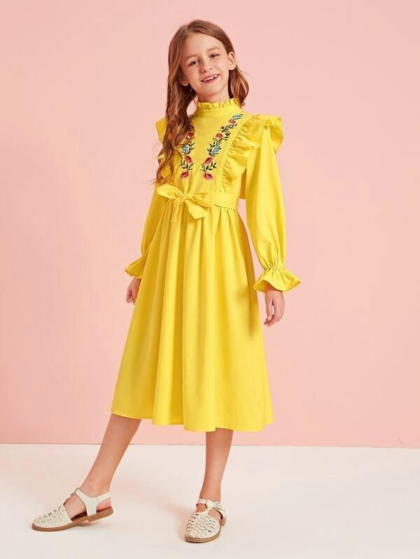 Girls Embroidery Detail Ruffle Detail Belted Flare Dress