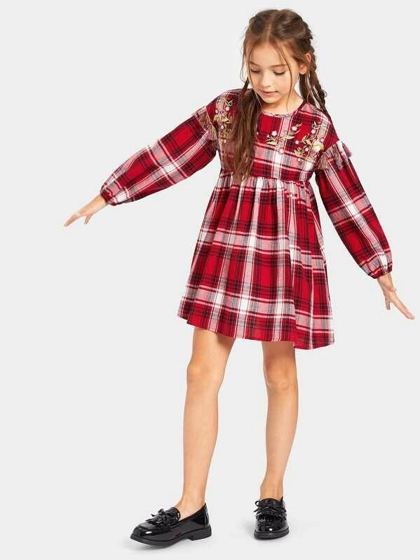 Girls Embroidery Floral & Tassel Detail Plaid Babydoll Dress