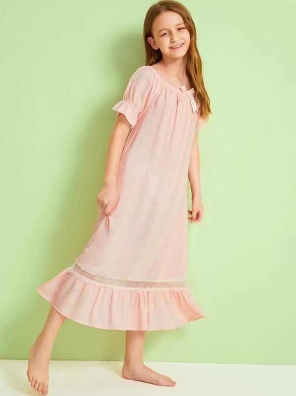 Girls Eyelash Lace Ruffle Hem Bardot Dress