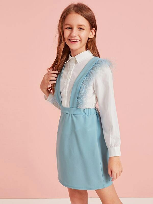 Girls Faux Fur Detail Suspender Skirt