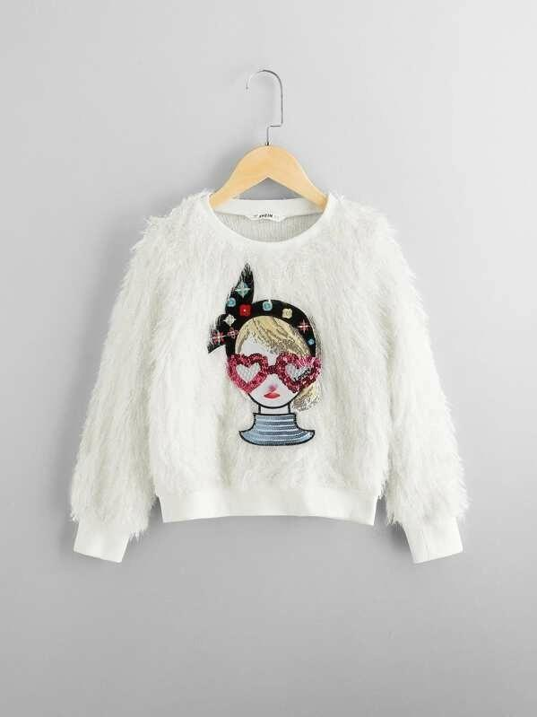 Girls Figure Front Faux Fur Pullover