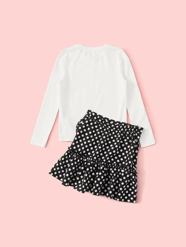 Girls Figure Graphic Top & Ruffle Trim Dot Skirt Set