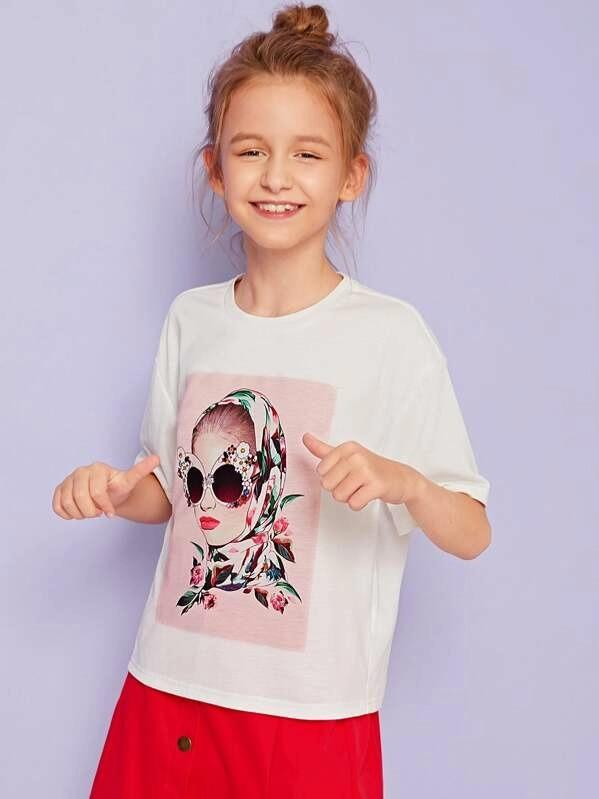 Girls Figure Print Tee