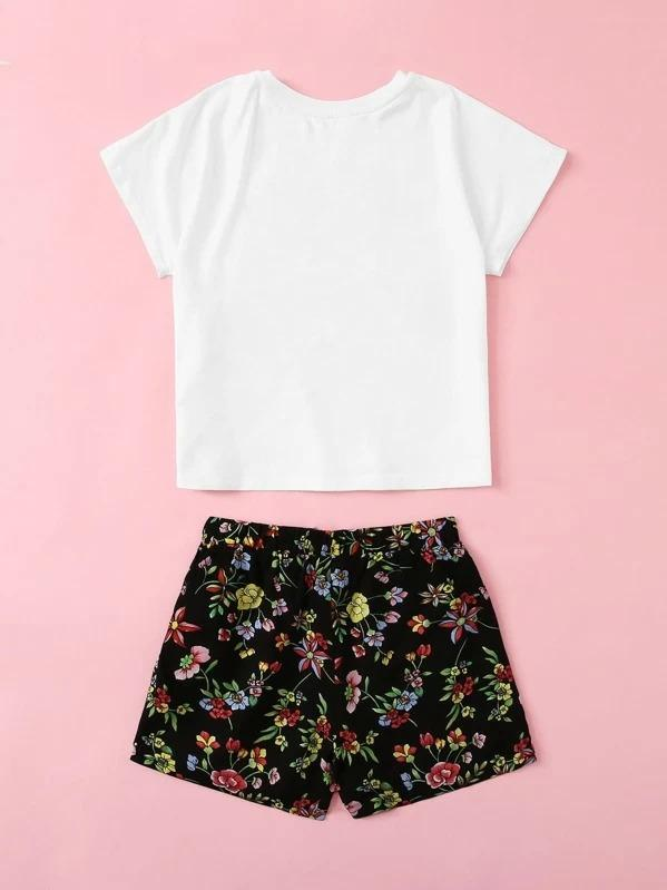 Girls Figure With Pom Pom Tee & Floral Shorts Set