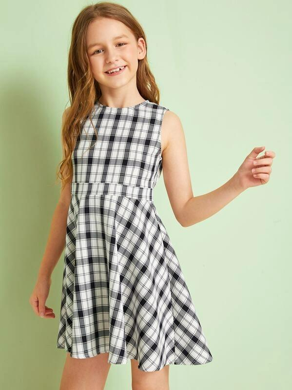 Girls Fit And Flare Plaid Dress