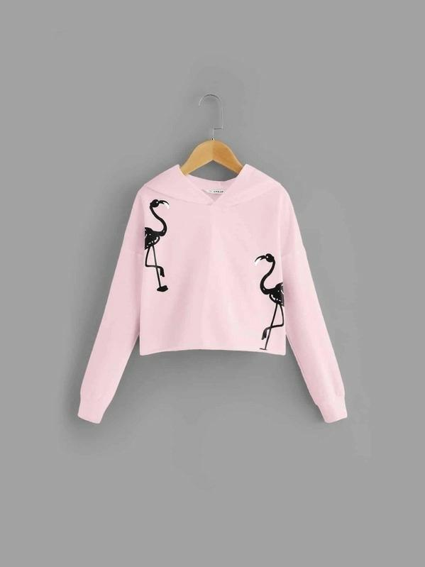 Girls Flamingo Print Hoodie Sweatshirt