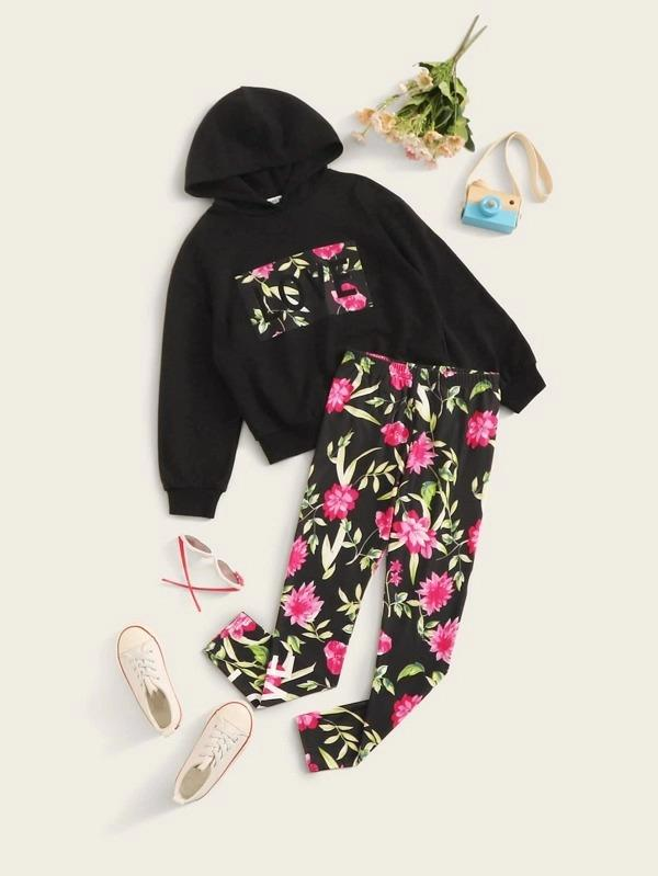 Girls Floral And Letter Graphic Hoodie And Leggings Set