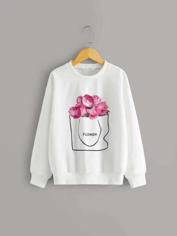 Girls Floral And Letter Graphic Pullover