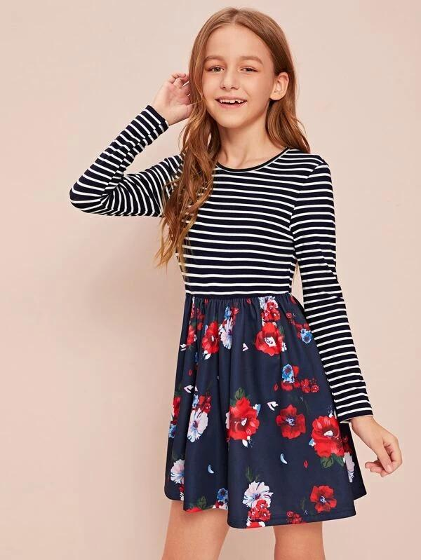 Girls Floral And Striped Print Skater Dress