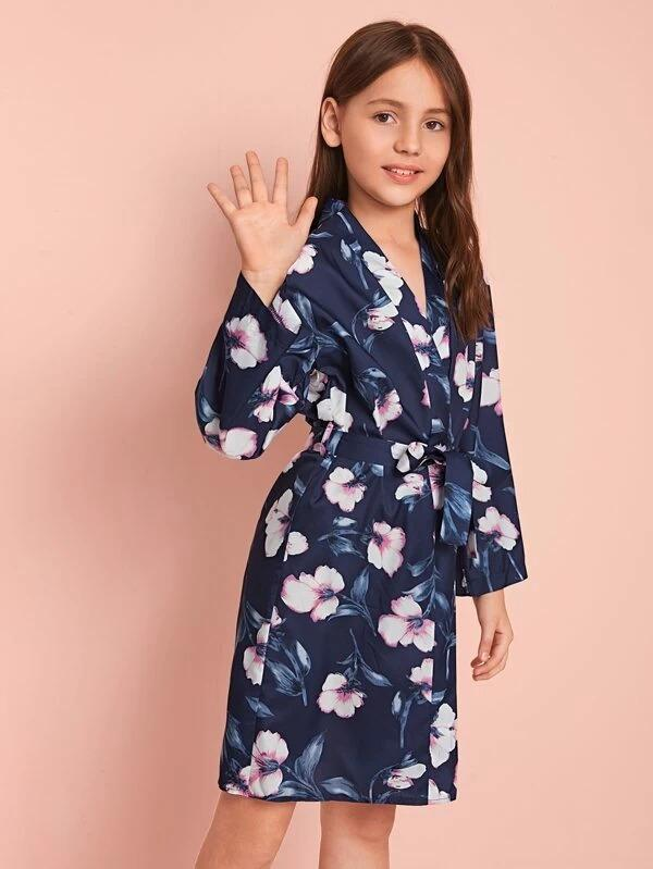 Girls Floral Belted Satin Robe