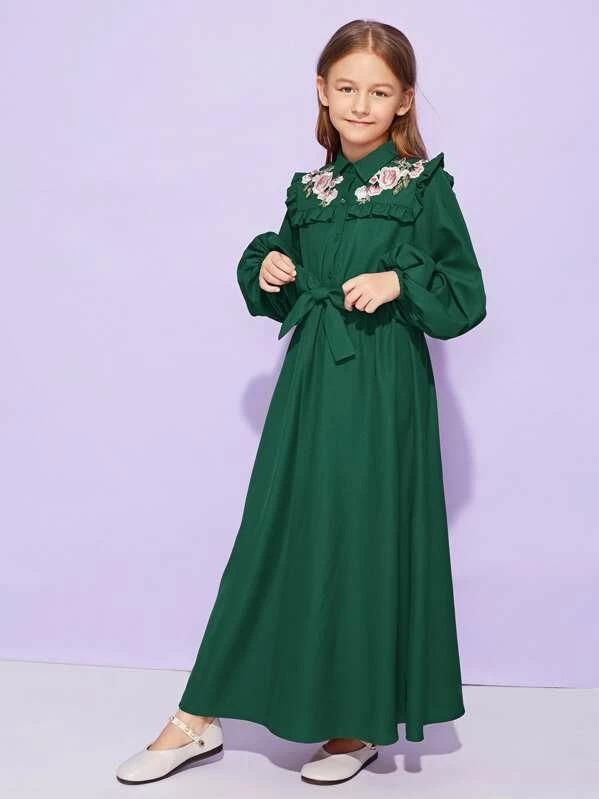 Girls Floral Embroidered Frill Trim Belted Dress