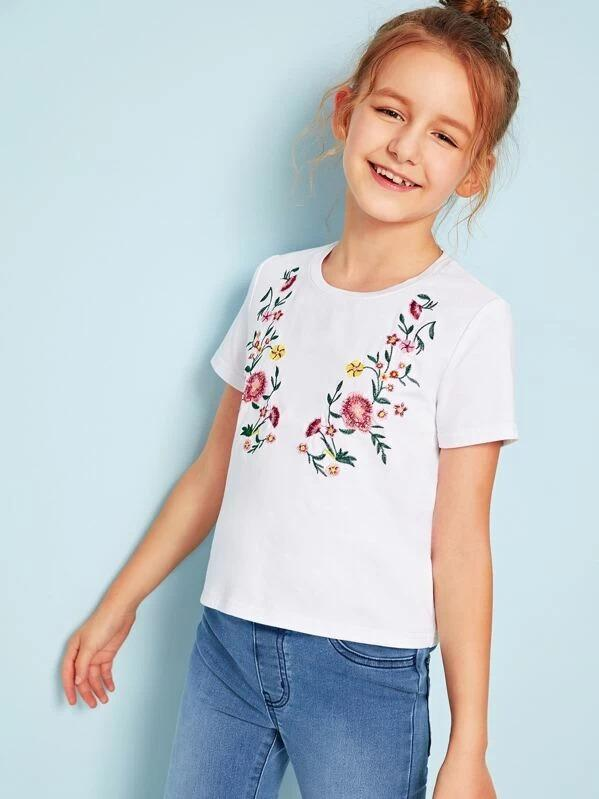 Girls Floral Embroidery Top