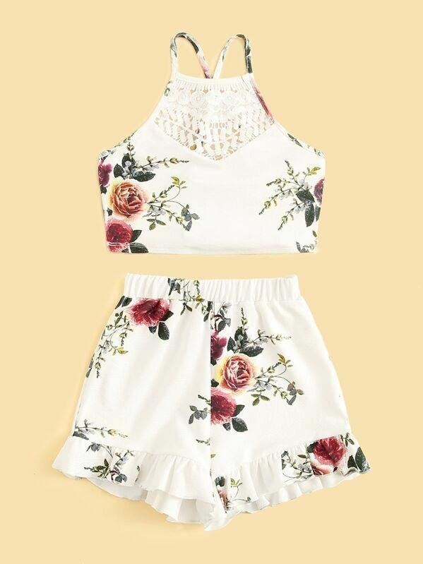 Girls Floral Lace Insert Top & Flounce Hem Shorts Set
