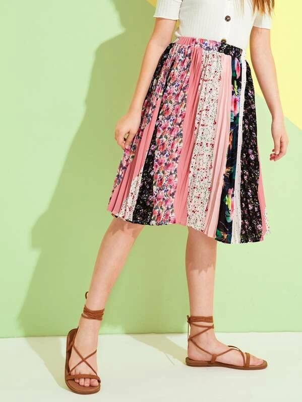 Girls Floral Patchwork Pleated Midi Skirt