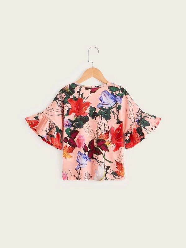 Girls Floral Print Bell Sleeve Top